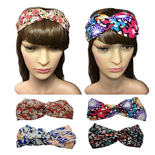 YSJOY Cute Butterfly Daisy Floral Blue Camouflage Pattern Printed Polyester Headband Twisted Turban Headwraps Perfect Gift for Women Girls Pack of 4
