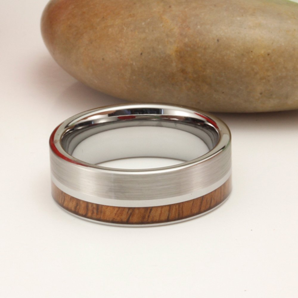 Men Women Tungsten Silver Couple Ring Vintage Wedding Engagement White Band with 100% Koa Wood Flat Top by Fashion Month (Image #7)
