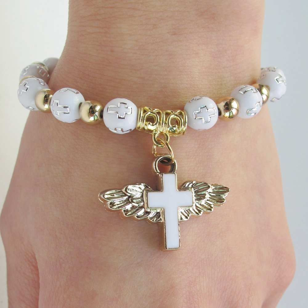 12 Pcs Angel Wing Cross Bracelet Favor for Boy and Girl - Baptism Favor / Christening