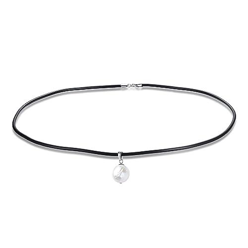9f29e0001531 Las mujeres collar de cuero negro 14 mm barroco perla colgante Gargantilla  Collar con cierre de