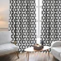 Lewis Coleridge Blackout Curtains for Bedroom Geometric,Circles and Symmetric Linked Round Forms Artistic Modern Design,Charcoal Grey Black White,Darkening Grommet Window Curtain-Set of 2