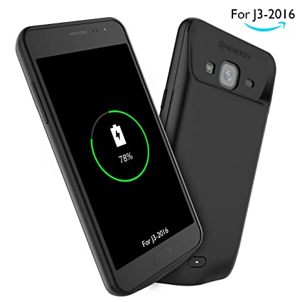 official photos eba64 59c6e Samsung J3 Battery Case, Newdery Extended Power 4000mAh Charger Case,  Rechargeable Protective Charging Case for J3 2016 320V J3 Amp Prime -Black