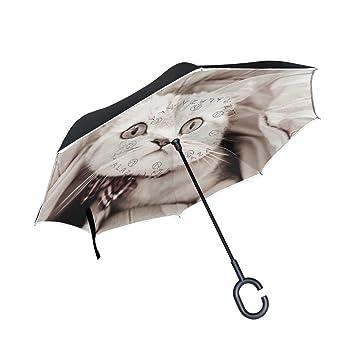 ISAOA Paraguas grande invertido paraguas resistente al viento doble capa construcción reversible plegable paraguas para uso