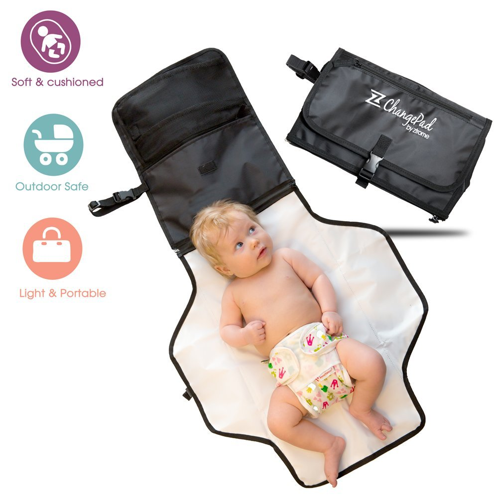 Travel Change Pad - Voted #1 Best Portable Baby Diaper Changing Kit - E-book Included - Black - 100% Satisfaction With Lifetime Guarantee ztrome