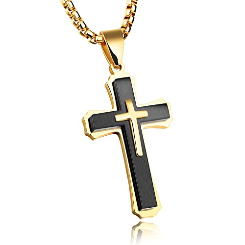 3733072b75 Image Unavailable. Image not available for. Color: TEMICO Unique Stainless Steel  Cross Pendant Necklace for Men Religious Jewelry ...