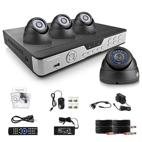 Zmodo Kit Sistema de Vigilancia DVR 8 canales 4 Cámara vigilancia 600TVL Interior Dome visión nocturna
