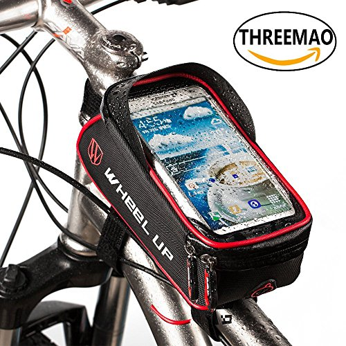 "THREEMAO Bike Bag Waterproof Bike Top Tube Bag Cycling Front Frame Bag Mobile Phone Holder ≤ 6"" Screen with Water Resistant Zipper (black and red)"
