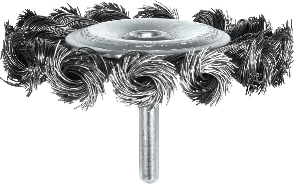 Carbon Steel Bristles Round Shank 20000 Maximum RPM 4 Diameter 0.014 Wire Size PFERD 763933 Economy Power Universal Line PS-FORTE Knot Wire Stem-Mounted Wheel Brush Pack of 5