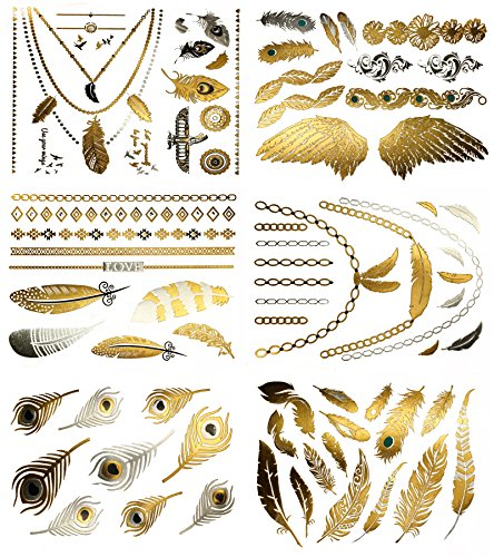 Boho Feather Metallic Temporary Tattoos - Over 75 Gold and Silver Designs (6 Sheets) Terra Tattoos Destiny Collection ()