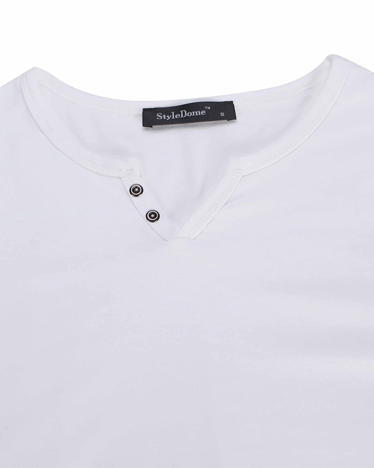 MODCHOK Hombre Camiseta Manga Larga Polo T-Shirt Cuello V Color S/¨Lido Casual Oficina
