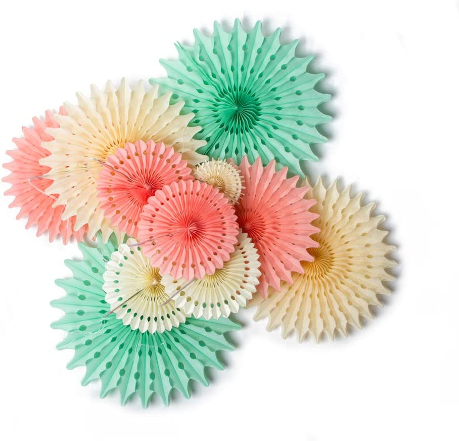 Hanging Honeycomb Paper Fans Party Decoration Assorted Colors SUNBEAUTY (Mint Peach Cream)