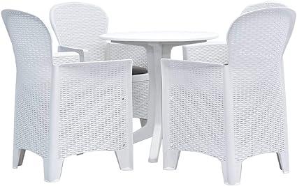 Festnight Ensemble de Salle /à Manger 1 Table et 4 Chaises Plastique Blanc