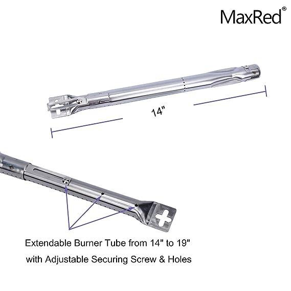 PayandPack 42204 - (lote de 2) Universal longitud ajustable de 35,5 cm a 48 cm, quemador de tubo de acero inoxidable de repuesto para la mayoría de modelos ...