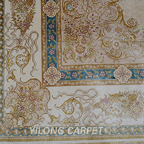 Amazon.com: Yilong 4.5x6.5 Handmade Persian Silk Rug Vintage Oriental Floral Medallion Pattern Double Knots Hand Knotted Home Carpet (4.5 Feet by 6.5 Feet ...