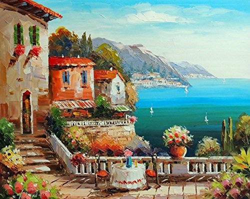 100% Hand Painted Italy Town Mediterranean Sea Coast Cliff Flowers Boats Canvas Home Wall Art Oil Painting by Well Known Artist, Framed, Ready to Hang