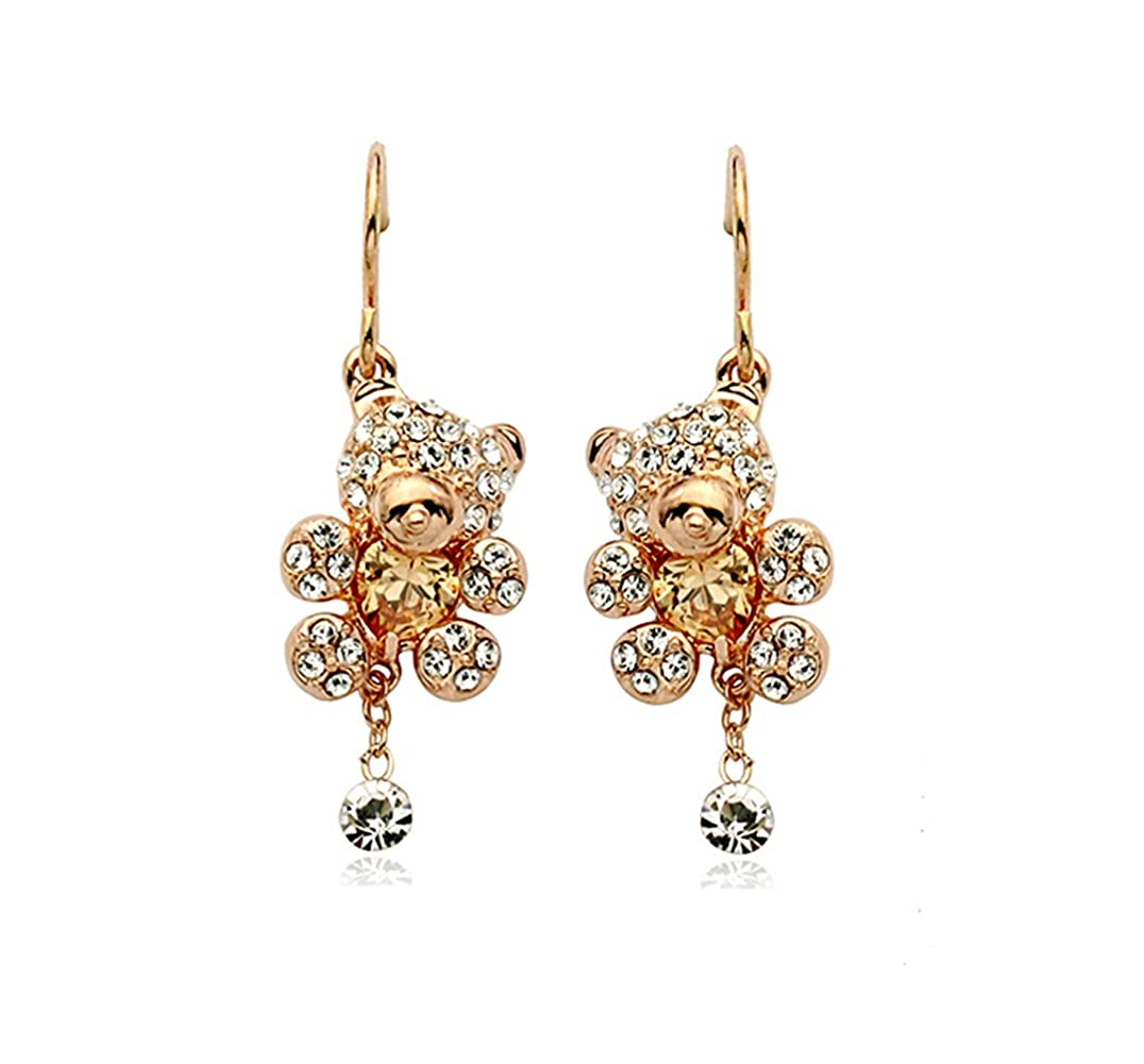 Gift for Girls Gold Plated Teddy Bear with Heart Shaped Golden Brown Swarovski Elements Crystal Dangle Earrings Fashion Jewelry
