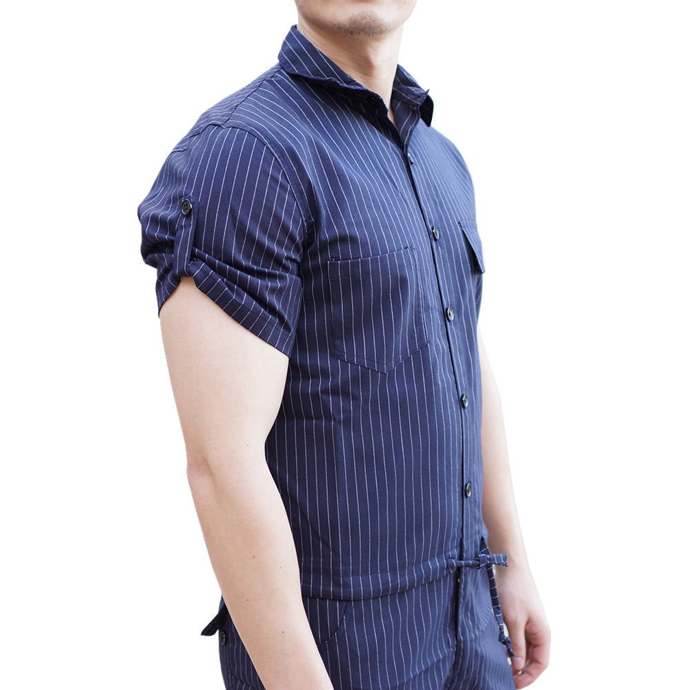 15e3a1a63ed1 YOUMU Men Hip-Hop Short Sleeve Striped Romper Suit Jumpsuit Playsuit  Overalls One Piece at Amazon Men s Clothing store