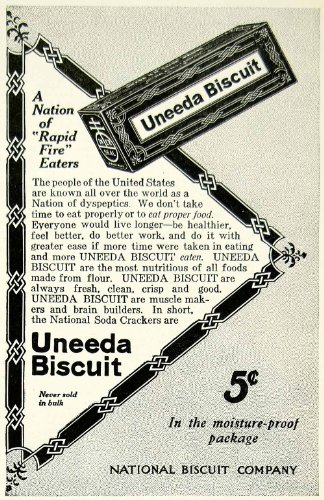 1911 Ad National Biscuit Uneeda Soda Crackers Food Grocery Snack Box Pantry Meal - Original Print Ad from PeriodPaper LLC-Collectible Original Print Archive