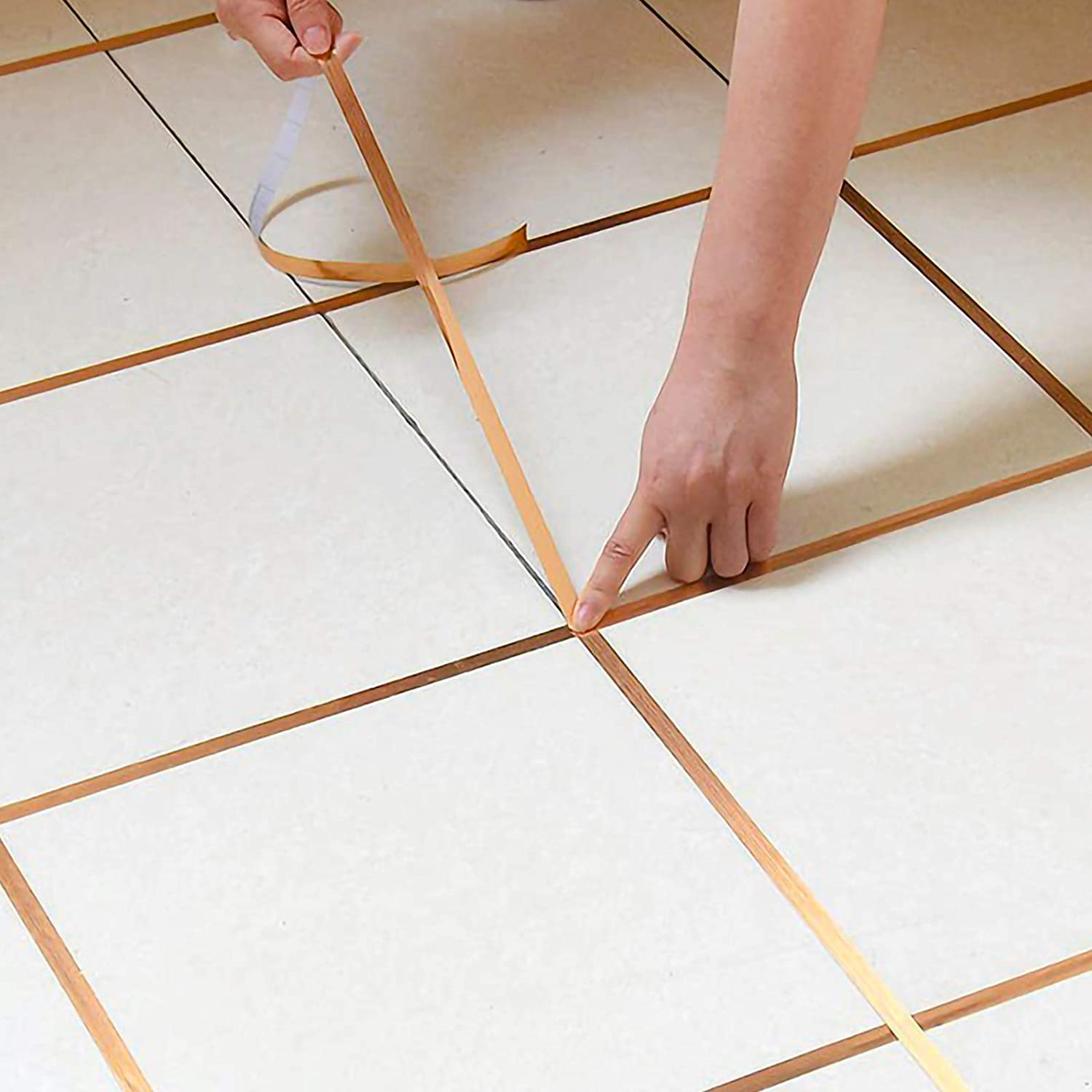 Eanpet 0.8 Inch x 166 Ft Tile Stickers Decorative Floor Wall Sticker Foil Line Peel and Stick Adhesive Waterproof Gap Cover for Kitchen Bathroom Living Room Bedroom (1pc Roll) Gold