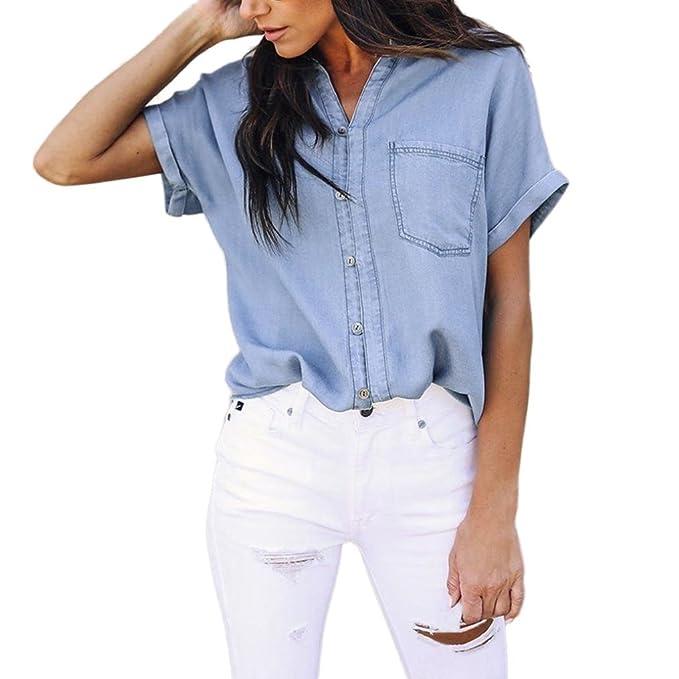 Sannysis Mujer Casual Suave Mezclilla Camisa Tops Azul Pantalones Botón Manga Corta Blusa Chaqueta Mujer Verano