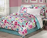 Retro Peace Signs Turquoise Pink Girls Comforter Set with Bedksirt