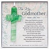 The Grandparent Gift Handmade Glass God Mother Cross Frame, Green, Beige