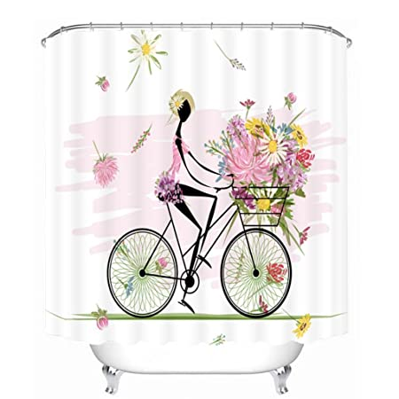 GFYWZ Shower Curtains 3D Creative Cycling Girl Three Dimensions Printing Polyester Fabrics Waterproof And Mildew Bathroom