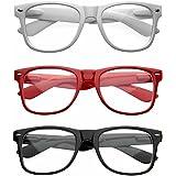 zeroUV - Nerd Raver Poser Clubbing Clear Lens UV400 Dork Horn Rimmed Glasses