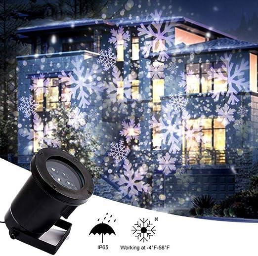 OZZDYH Proyector de Exterior de Navidad del Copo de Nieve en ...