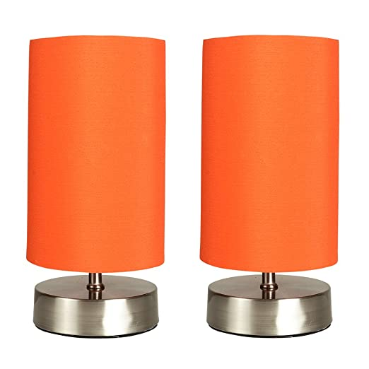 Pair of modern chrome touch dimmer bedside table lamp with orange pair of modern chrome touch dimmer bedside table lamp with orange cylinder light shade mozeypictures Image collections