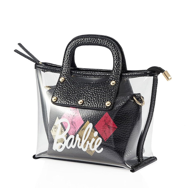 Barbie Women Sweet PU Leather PVC Irregular-shape Wider-handles Girls Student Cross-body Bag Shopping Bag #BBFB268