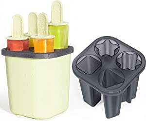 Ice Popsicle Molds, Yolife 4 Cavities Food-Grade PP Makers Reusable Ice Cream Mould Ice Pop Molds Classic Homemade Molds BPA-free DIY Oval Cake Pop Mold Kids Pop Holders for Kitchen Party (Green)