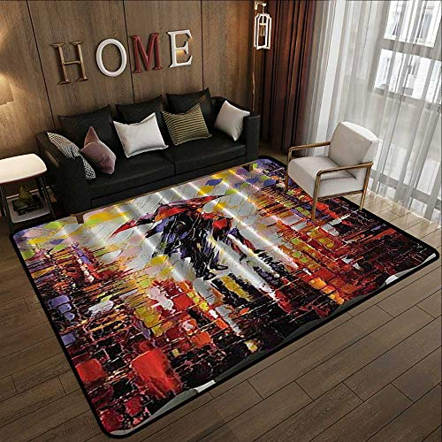 Kids Rugs for playroom,Art Paintings Love,Cute Couple on a Rainy Day Brushstroke Watercolor Colorful Umbrella Shadow Emotional Romance Night,Re 47