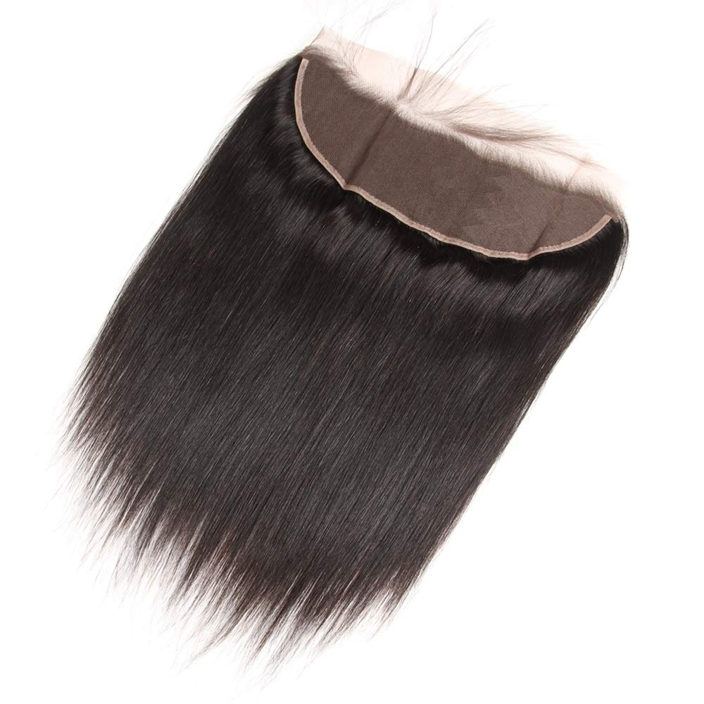 """Lace Frontal Closure 13 x 4 Human Hair Straight Wave Pre Plucked Ear To Ear Lace Frontals With Bangs Baby Hair Knots Can Be Bleached (12"""", Light-brown Lace)"""