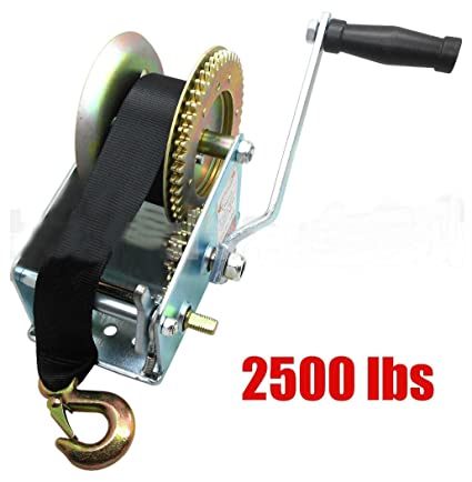 Amazon com: 2500lbs Nylon Strap 2 Gear Hand Winch Hand Crank