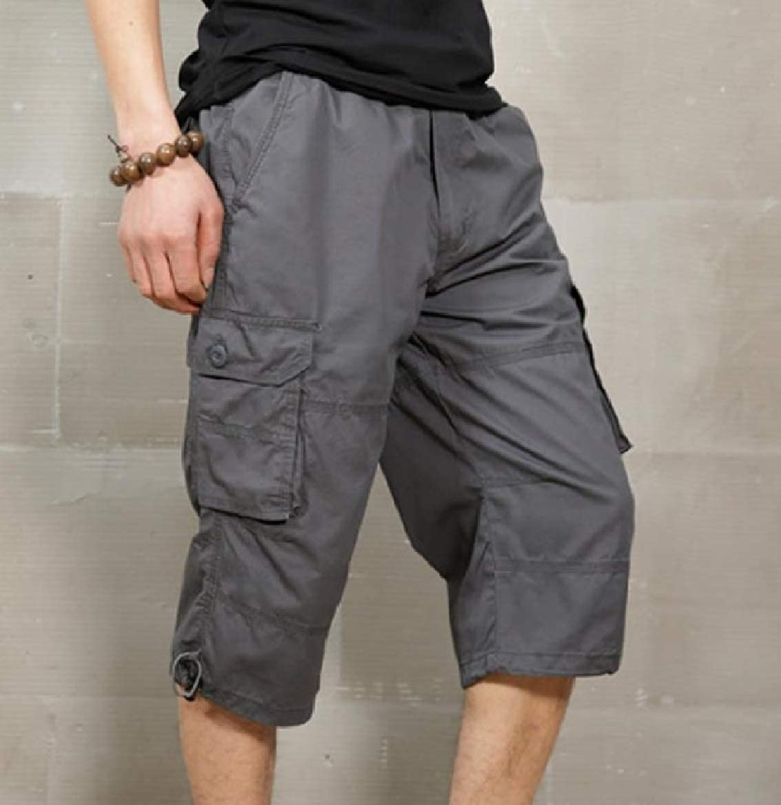 Tootless-Men Solid Colored Capri Fashion Summer Multi Pockets Rip Stop Pants