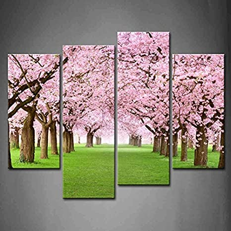4 Panel Pink Ornamental Garden With Blossoming Large Cherry Trees On A Fresh Green Lawn Oil Paintings On Canvas Print Landscape The Picture Modern Wall Art Set Stretched And Framed Ready