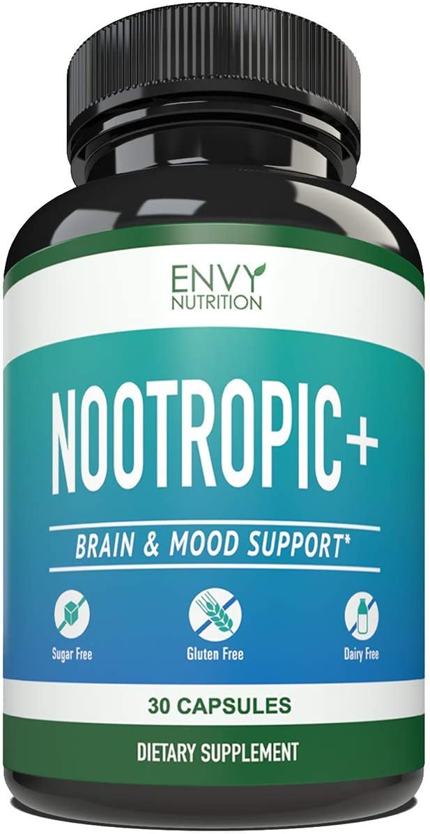 Nootropic Supplement – Brain and Mood Support with Improved Memory, Focus, Energy, Creativity Motivation – 30 Count