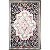 Safavieh Chelsea Collection HK74A Hand-Hooked Black Wool Area Rug, 5-Feet 3-Inch by 8-Feet 3-Inch