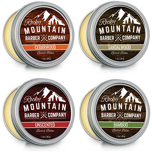 Beard Balm Variety Pack - 4 Beard Balm Samples (1 oz each) Made with Natural Oils, Butters & Rich in Vitamins & Minerals - Argan Oil, Shea Butter, Coconut Oil, Jojoba Oil to Hydrate, Condition by Rocky Mountain Barber Company