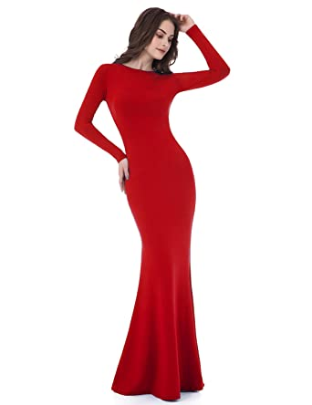 ccc10d32f18 Clearbridal Womens Formal Long Sleeve Backless Maxi Evening Party Dresses  Cocktail Prom Gowns LF015: Amazon