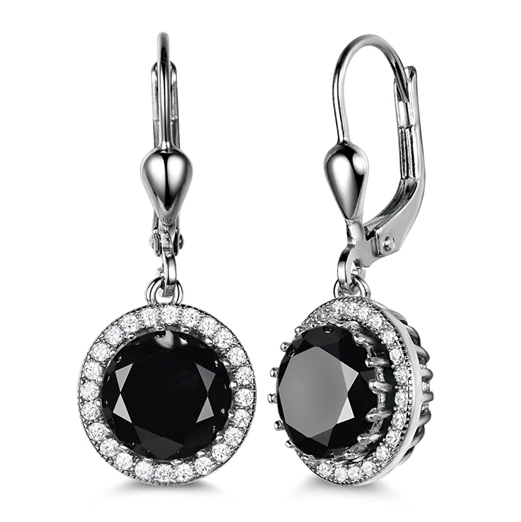 d9d2d259a GULICX Women's 925 Sterling Silver Black Zircon Vintage Style Round Dangle  Earrings Leverback: Amazon.co.uk: Jewellery