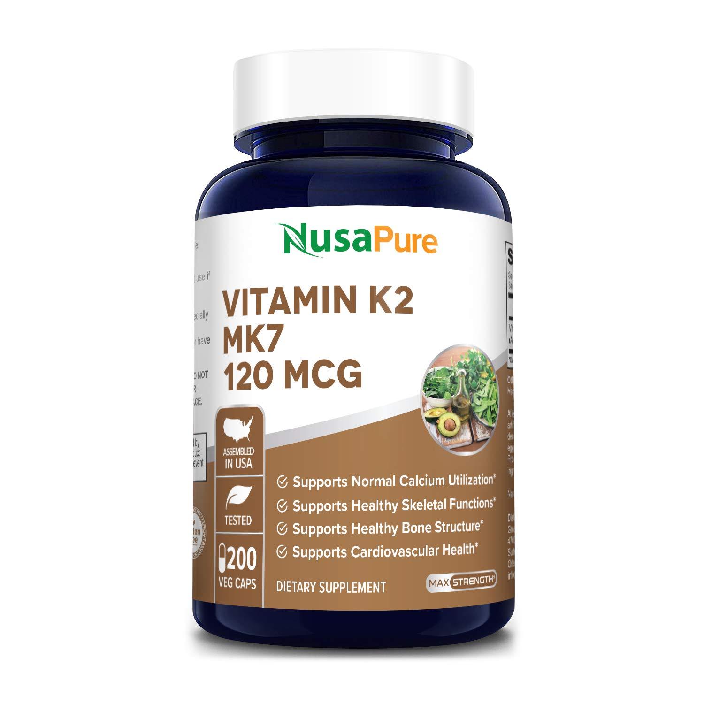 Vitamin K2 MK7 120 mcg 200 Veggie Caps (Non-GMO, Vegetarian & Gluten-Free) Supports Normal Calcium Utilization *