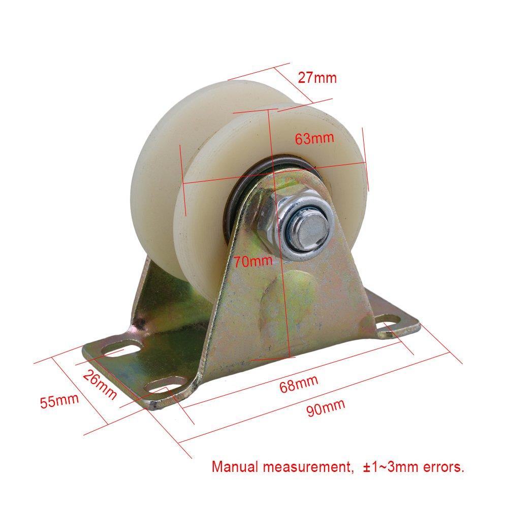 cnbtr 6,3 cm Dia Beige 45 # Stahl Nylon Groove Track Roller starr Caster Rad f/ür industrielle Maschinen Carts 200 kg