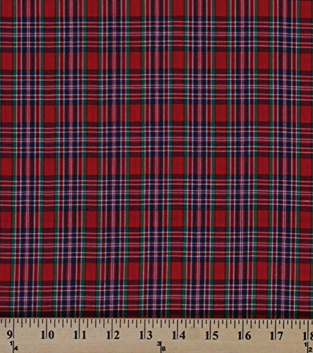 Tartan Plaids Cameron Polyester Cotton Red Green Blue Plaid Check Fabric By (Cameron Check)