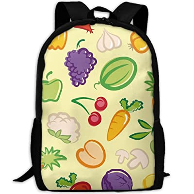ZQBAAD Vegetables Fruit Salad Bowl Luxury Print Men And Women's Travel Knapsack