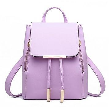 Amazon.com | Women Backpack PU Leather Mochila Escolar School Bags For Teenagers Girls Top-Handle Backpacks Herald purple 28x24x14cm | Backpacks
