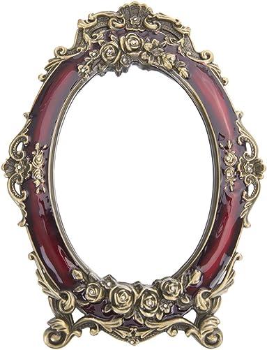 Nerien Decorative Vintage Retro Metal Tabletop Mirror Rose Embossed Makeup Vanity Mirror with Stand Red