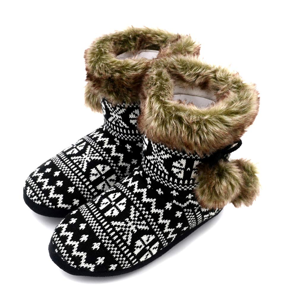 96d4692d7fd Millffy Nordic Women Ultra Boots Faux Fur Memory Foam Home Booties Shoes  Ladies Knit Sherpa Bedroom Home Slippers