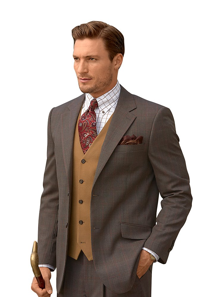 Paul Fredrick Men's Super 100s Wool Plaid Suit Jacket Coffee 52 Long